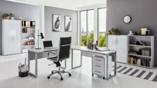 OFFICE EDITION Büromöbel Set 1lichtgrau weiß hochglanz