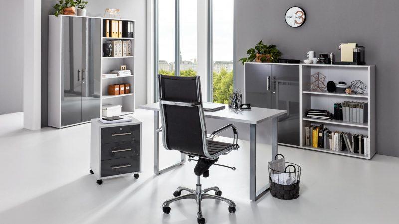 Arbeitszimmer Office Edition Mini Set 1lichtgrau anthrazit hochglanz