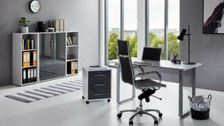 komplette BüroeinrichtungArbeitszimmer Office Edition Mini Set 2lichtgrau anthrazit hochglanz