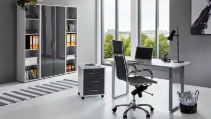 komplette BüroeinrichtungArbeitszimmer Office Edition Mini Set 3lichtgrau anthrazit hochglanz