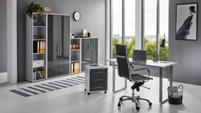 komplette BüroeinrichtungArbeitszimmer OFFICE EDITION Mini Set 4 lichtgrau anthrazit hochglanz