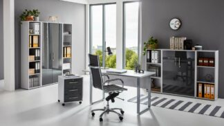 komplette BüroeinrichtungOFFICE EDITION Büromöbel Mini Set 5 lichtgrau anthrazit hochglanz