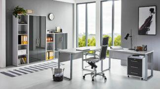 OFFICE EDITION Büromöbel Set 4lichtgrau weiss Hochglanz