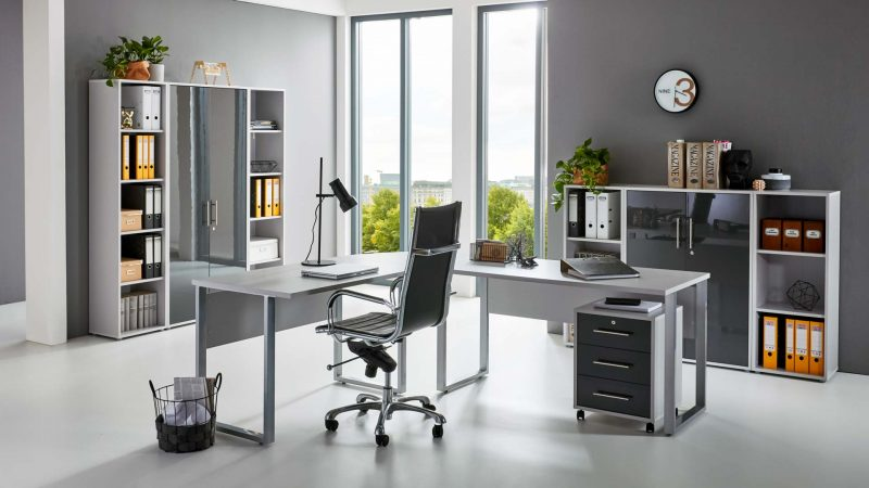 OFFICE EDITION Büromöbel Set 5 lichtgrau anthrazit Hochglanz
