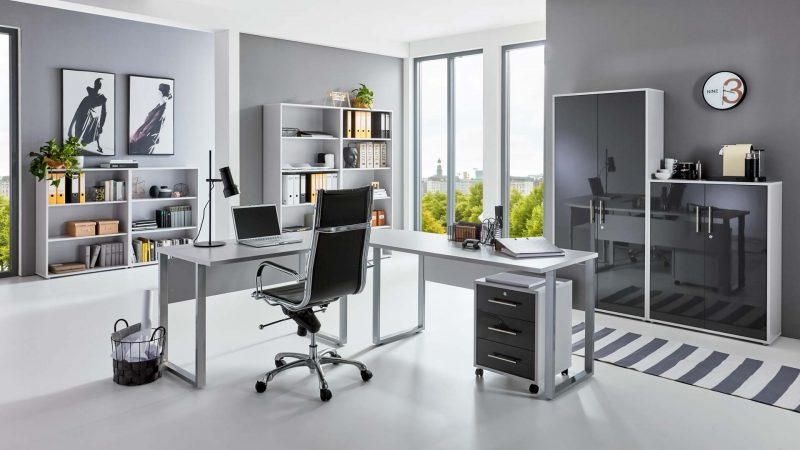 OFFICE EDITION Büromöbel Set 6 lichtgrau anthrazit Hochglanz