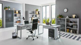 OFFICE EDITION Büromöbel Set 7 lichtgrau anthrazit Hochglanz